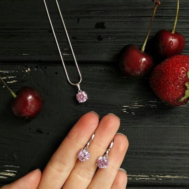 wedding photo - Bridesmaid earrings and necklace set Wedding Jewelry Set Halo Teardrop Bridesmaid Jewelry Set diamond pink cubic zirconia gift for bridedmai