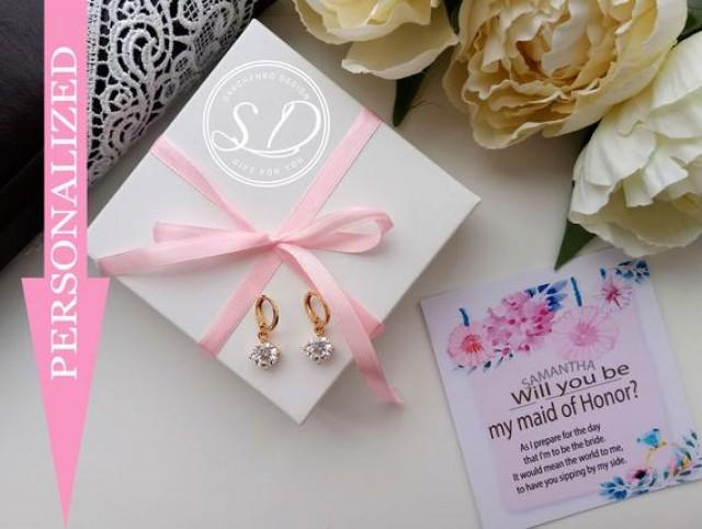 wedding photo - Will you be my maid of honor proposal earring personalized Jewelry Boxes, minimalism earring, bridesmaids Rhinestone LUX Cubic earrings