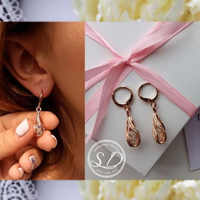 wedding photo - Rose gold bridal earrings Crystal earring Minimalism bridal earrings Bridesmaid Gift Wedding Birthday Gift for Wife for Groom Mom