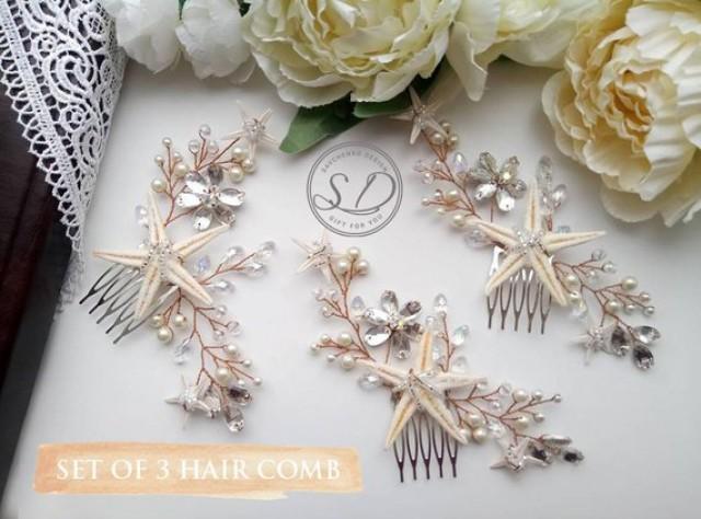 wedding photo - Set of 3,4,5,6,7,8 Bridesmaid starfish hair comb for beach wedding hair accessories Hair Piece pearls and crystal hair pin bridal hair comb