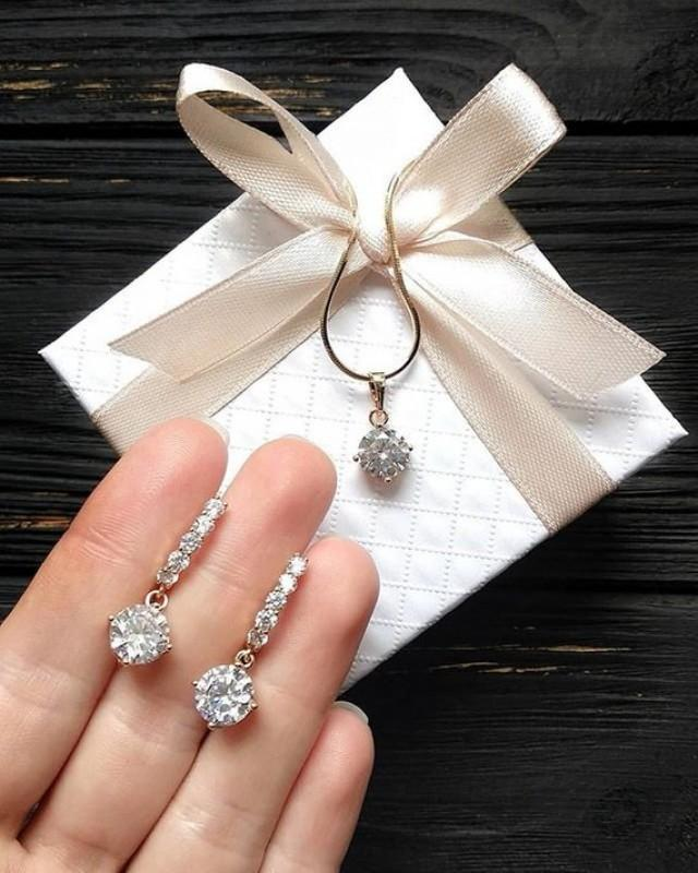 wedding photo - Bridal Jewelry Set bridesmaid jewelry earring necklace set silver jewelry for wedding Maid of Honor Gift Wedding Favor Bridesmaid Earrings
