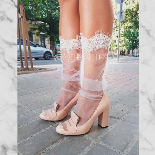 wedding photo - white Lace Wedding Socks