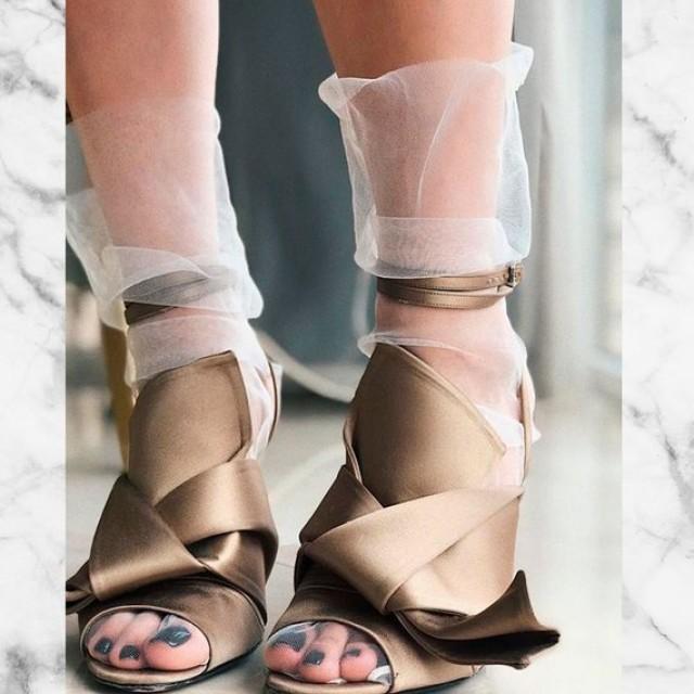 wedding photo - White wedding socks