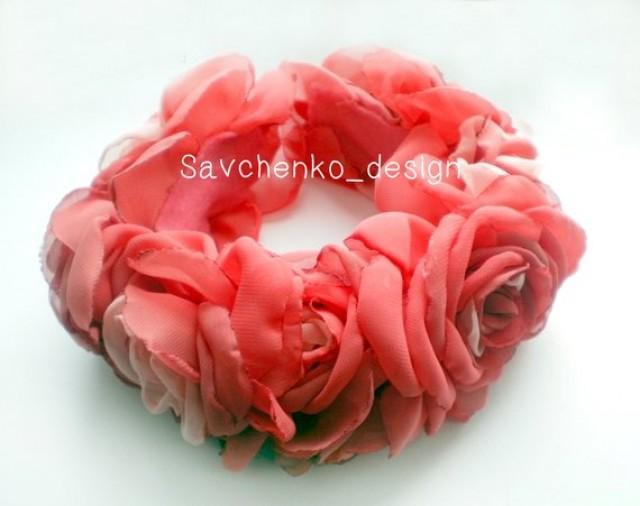 wedding photo - Flower Crown-Pink Bridal Floral Crown-Wedding Bridesmaid-Handcrafted-Giant Flower Circlet-Pink Flower Headband-hair vine pink Bridal