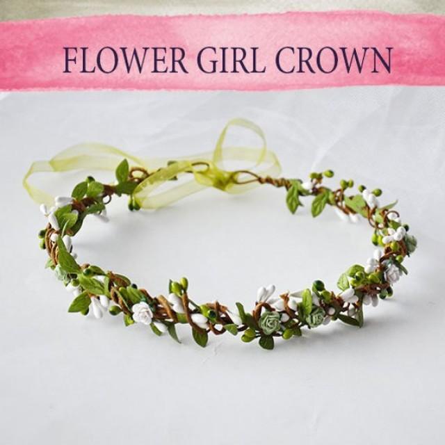 wedding photo - Floral Headband woodland wedding Festival Wedding Bridesmaid Flower Crown Baby breath flower Bridal Wreath tocado de flores Crown for girls