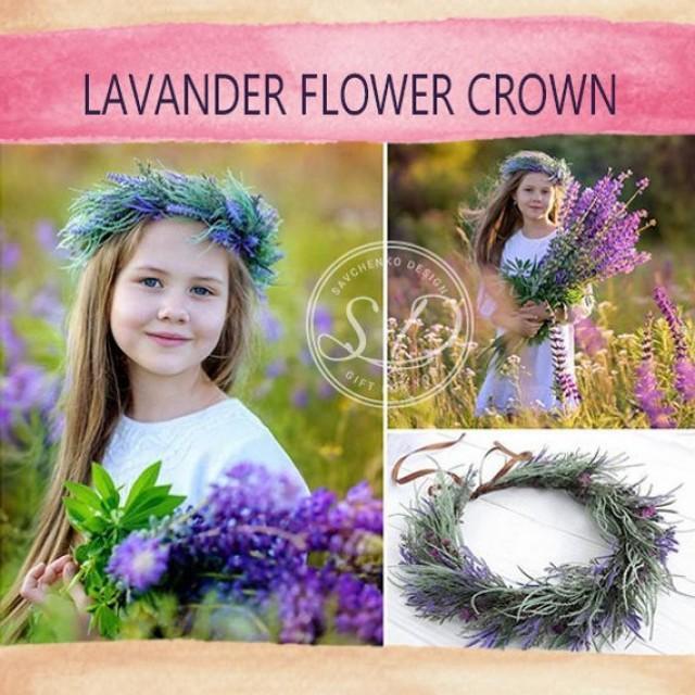 wedding photo - Lavander wedding Purple floral veil Flower Bachelorette Party Flower Girl Headbandand Purple party veil Summer Flower Crown Lilac Lavender