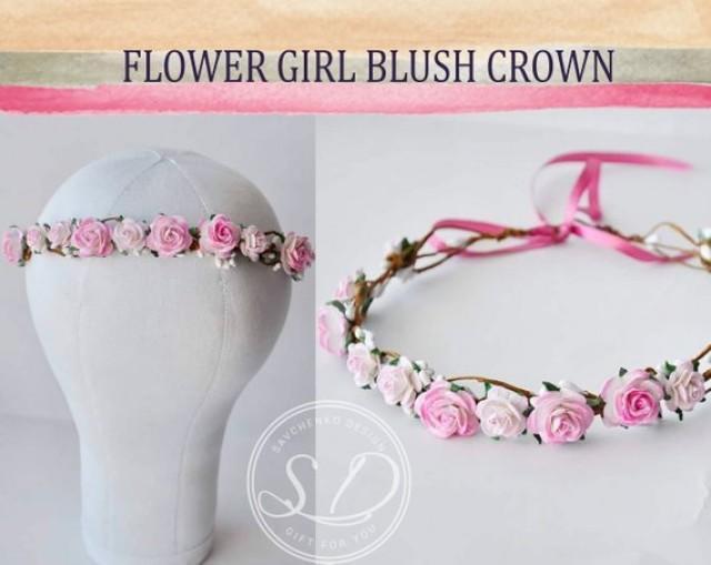 wedding photo - Pink Bridal Flower Crown Blush Flower Crowns Blossom Flower Crown Exquisite Flower Crown flower girl crown wedding bridal headpiece