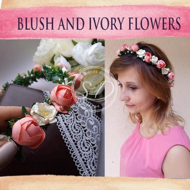 wedding photo - Blush flower crown Bridal flower crown Flower girls headpiece Bridesmaid crown Woodland flower girl Wedding Halo Floral headband Hochzeit