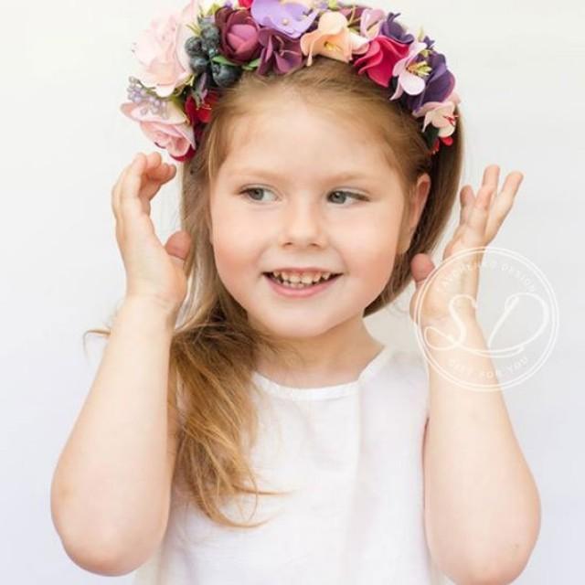 wedding photo - Blush boho toddler Flower Crown Pink flower crown Birthday crown flower head wreath Bohemian Headpiece rose hair crown Well dressed wolf