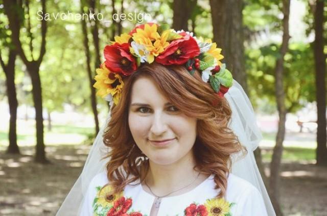 wedding photo - Bridal Ukrainian wreath Wedding Flower Crown dainty floral crow ukrainian wreath bohemian flower crown gyp flower crown Flower halo