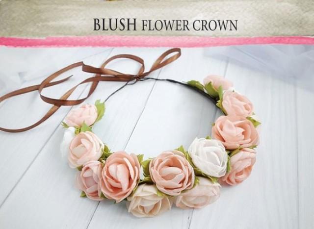 wedding photo - Blush boho toddler Flower Crown Pink mint wax flower crown Birthday crown flower head wreath Bohemian Headpiece rose hair crown