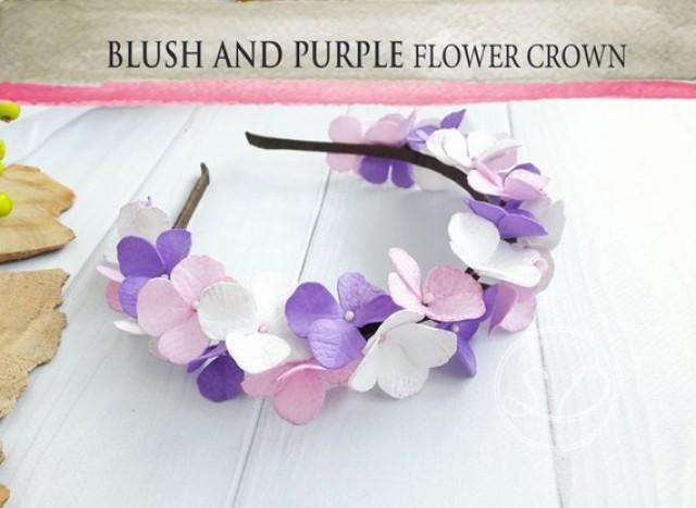 wedding photo - Purple succulent blush dusty mauve pink flower crown Flower Girl Headband wedding flower crown Pastel pink bohemian Flower Girl crown
