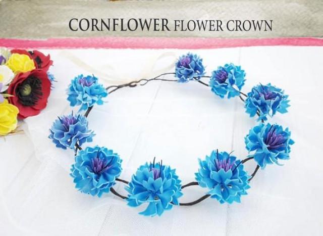 wedding photo - Cornflower blue coronal Cobalt blue wedding Something blue crown Flower headband Floral Headdress Flowergirl heapiece Rustic flower crown