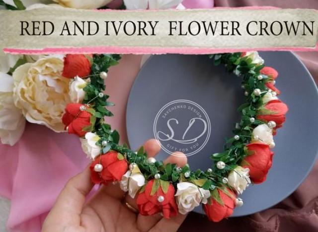 wedding photo - Floral hair accessories Burgundy headpiece Deep red flower crown Red Holiday Garland Headband Fashion Bridesmaid Hair Piece fairy headband