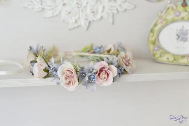wedding photo - Serenity flower crown Cream roses hair wreath Wedding floral headband Pastel bridal crown blue Flower Girl Provence wedding crown Roses halo