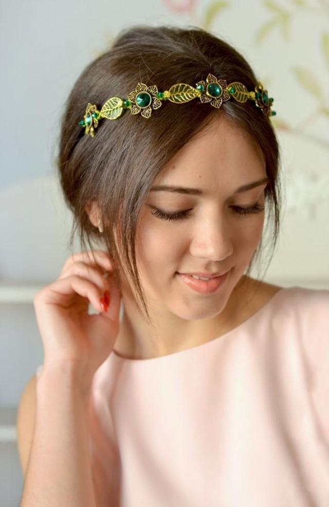 wedding photo - Emerald crystal flower crown Wedding green tiara Hair jewelry Emerald Festive hair accessory Bridal green gold crown leaves head piece