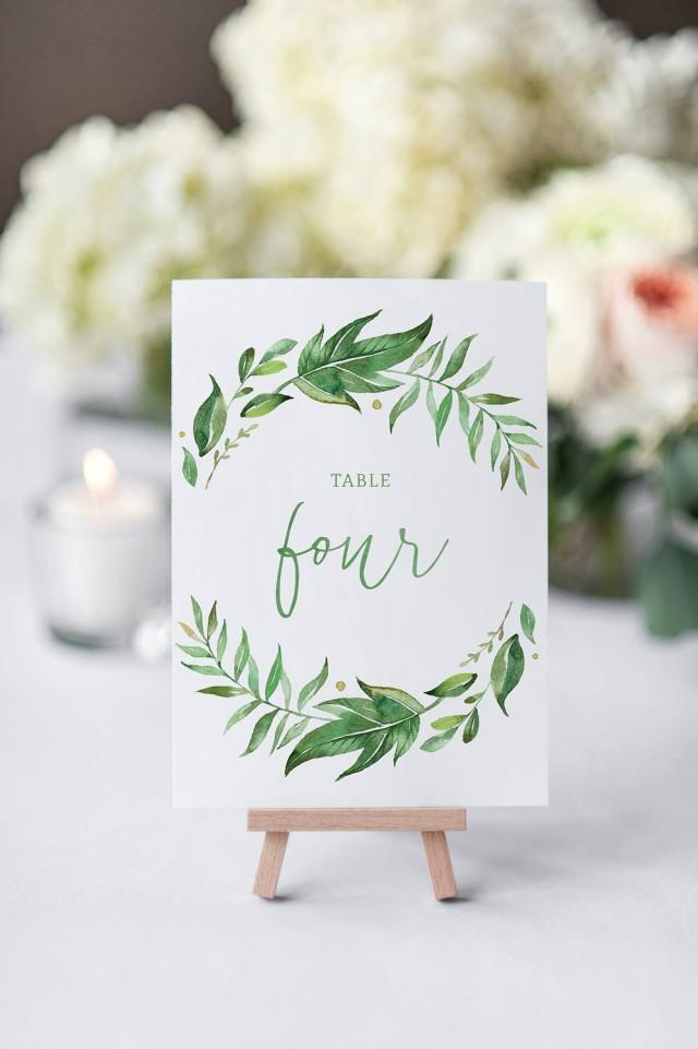 Printable Wedding Table Numbers / Watercolor Wreath / Leaves / Calligraphy / Table Numbers 1-21 / Instant Download / Greenery / Digital 4x6