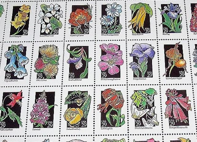 Set of 50 Wildflowers Stamps .. Vintage Unused US Postage Stamps .. Nature walks, springtime decor, Fields of flowers, Summertime, Florals