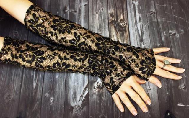 wedding photo - Long Black Gold Lace Gloves Opera Gloves Belly Dance Costume Gloves Lace Embroidery Gloves Steampunk Lolita Noir Vampire Gothic Gift For Her