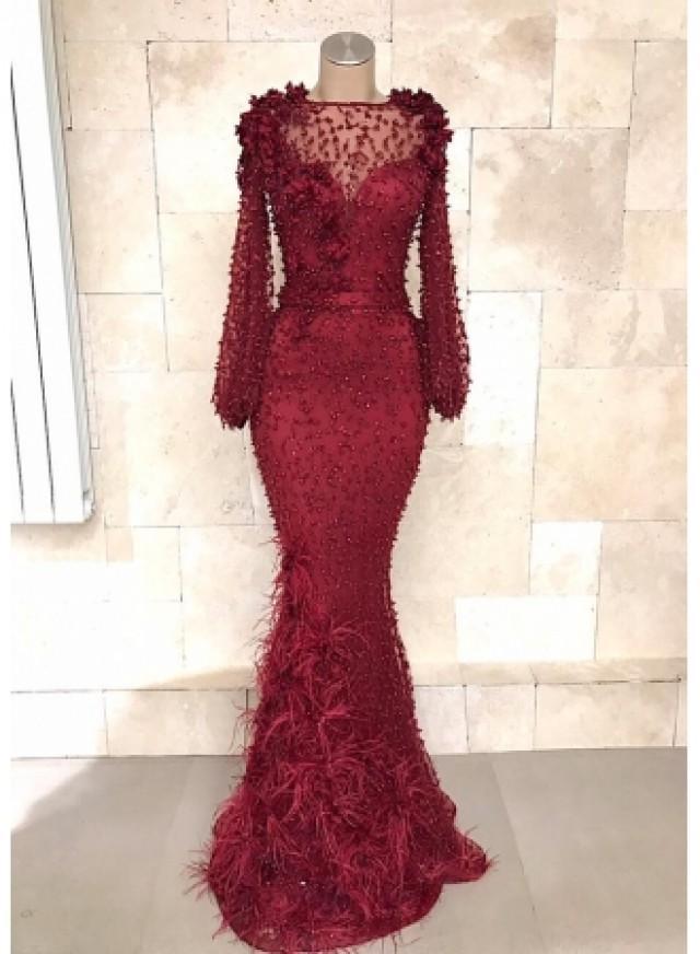 wedding photo - Fashion Abendkleider Lang Spitze Rot