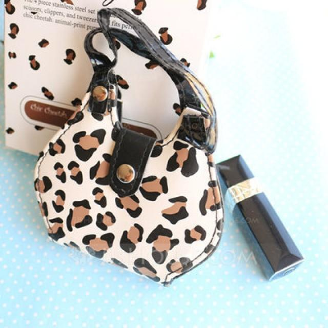 wedding photo - BeterWedding Chic Cheetah Animal-Print Purse Four-Piece Manicure Set
