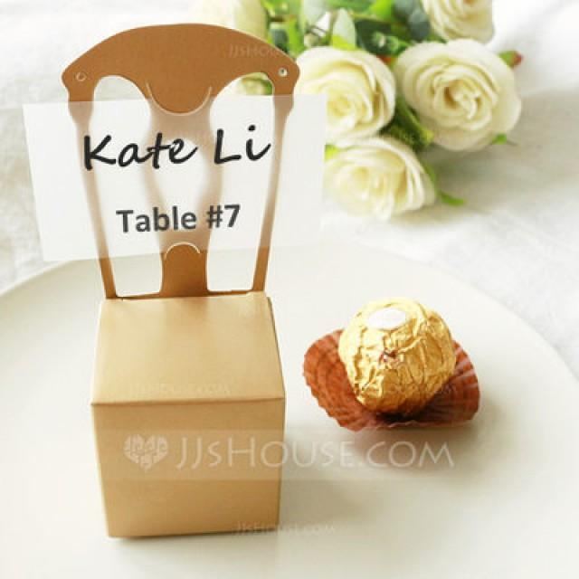 wedding photo - Beter Gifts®  Gold 50th Anniversary Gold Chair Favor Box and Place Card Holder