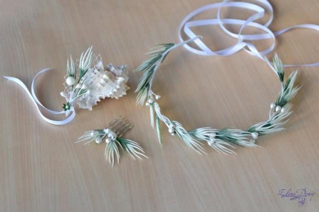 wedding photo - White green Wedding set Crown comb boutonniere Summer bridal Marine wedding crown Mermaid comb Sea wedding accessories Bridal