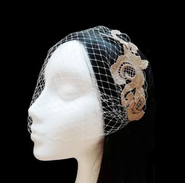 wedding photo - Gold and ivory birdcage veil. Lace bridal veil.