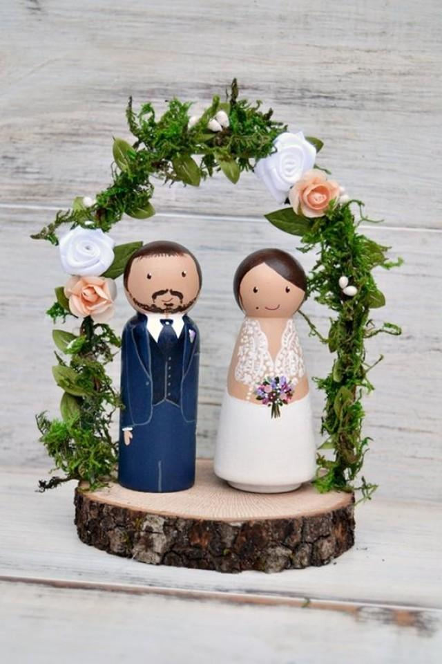 wedding photo - Personalized Wedding Cake Topper Flowers Arch, Rustic Cake Topper, Rustic Custom Bride Groom Woodslice.