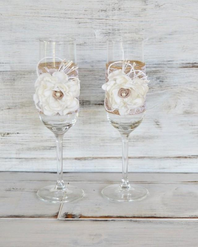 wedding photo - Rustic Chic Wedding Champagne Glasses with Lace and Fabric Flowers, Champagne Toasting Flutes, Engagement gift.