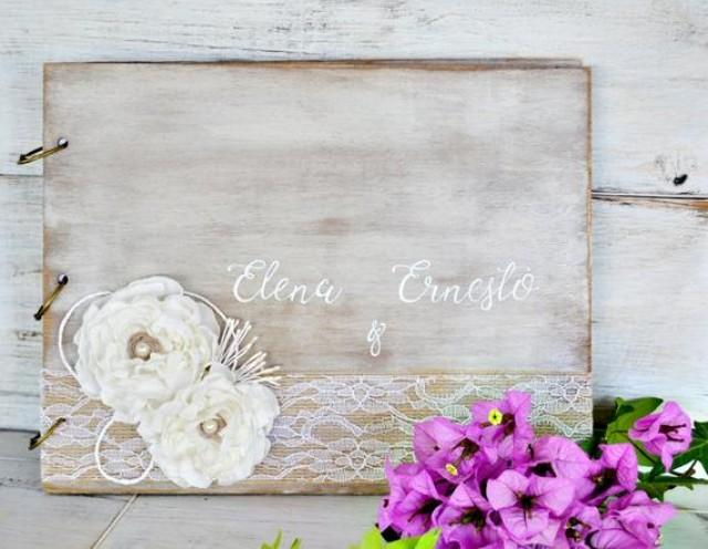 wedding photo - Personalized Wedding Guest Book with Fabric Flowers, Wood Guestbook, Rustic Guest Book, White Wedding Guestbook.