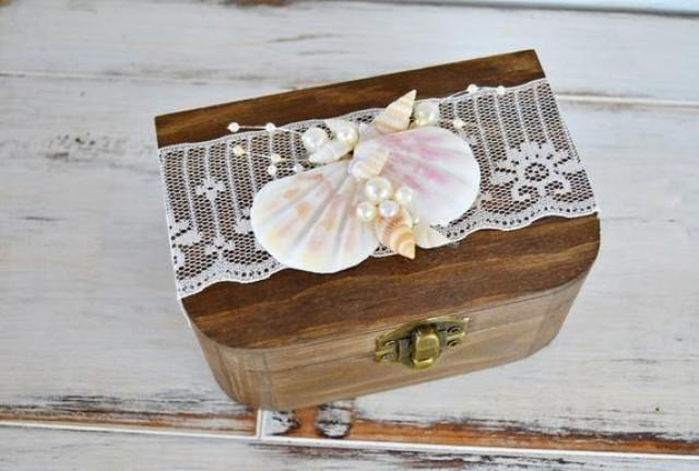 wedding photo - Beach Wedding Ring Box, Personalized Ring Bearer, Wood Alliances Box, Seashell Ring Box, Engagement Ring Box, Beach Proposal, Ring Holder.