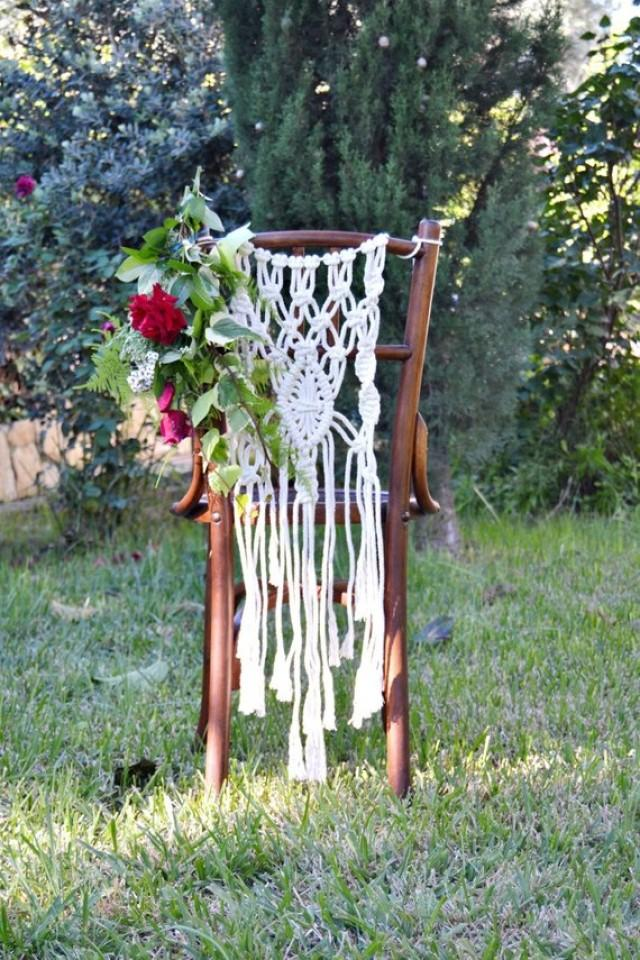 wedding photo - Macrame Wedding Chair Backs, Wedding Chair Hanger, Boho Wedding Decor, Bohemian Wedding Ideas, Two pieces.