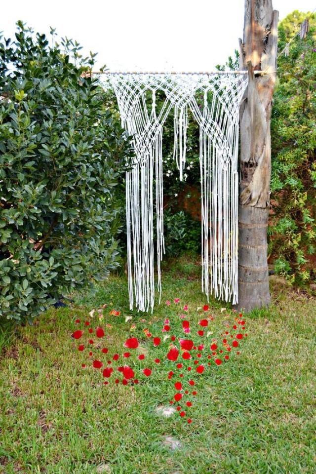wedding photo - Boho Wedding Backdrop Curtain, T-shirt Yarn Curtain Wall Hanging, Accessory Wedding Arch Knots Curtain, Trapillo Curtain, Wedding Outdoor.