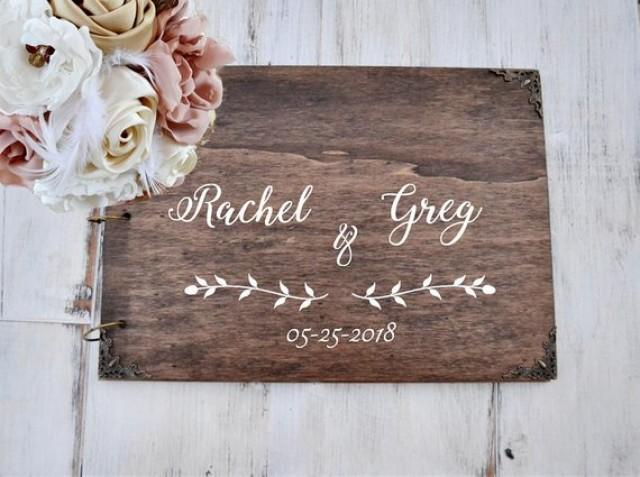 wedding photo - Wedding Guest Book, Personalized Wedding Guest Book Alternative, Wood Guestbook Sign Calligraphy, Unique Guest Book, Bridal shower gift.