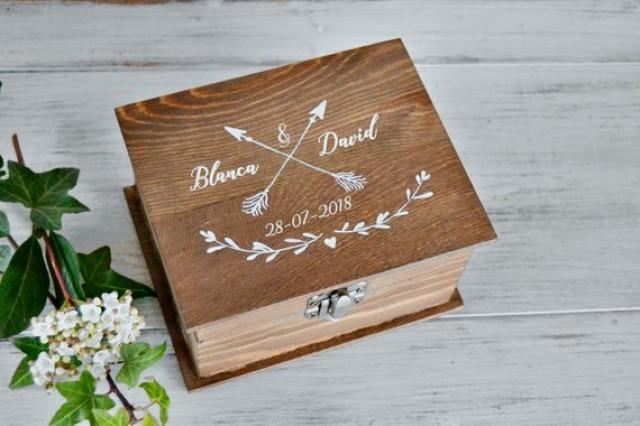 wedding photo - Boho Wedding Ring Box Arrows, Ring Bearer Box, Custom Wood Box, Ring Engagement Box Personalized Name, Dark wood white.
