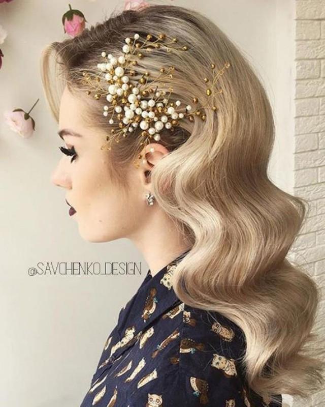 wedding photo - bridal hair accessories,woodland wedding hair piece,bride hairpiece,pearl hair comb,alternative bohemian pearl hair vine,headpiece for bride