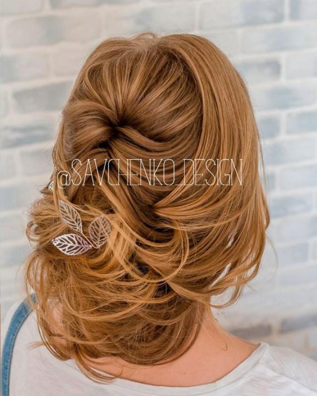wedding photo - Gold leaf hair pin