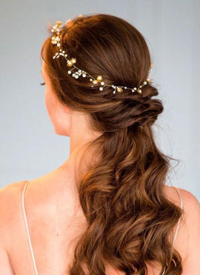 wedding photo - Flower Bridal hair vine Pearls hair accessories haarschmuck braut wedding flower crown fall wedding gold headpiece boho bridal hair piece
