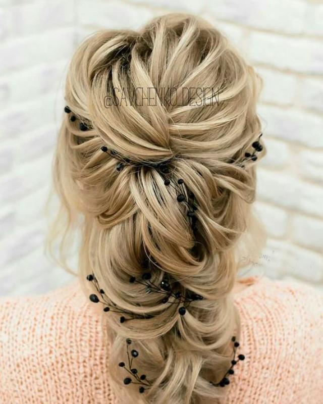 wedding photo - Black Bridal hair vine wedding hair accessories Bridesmaid gift