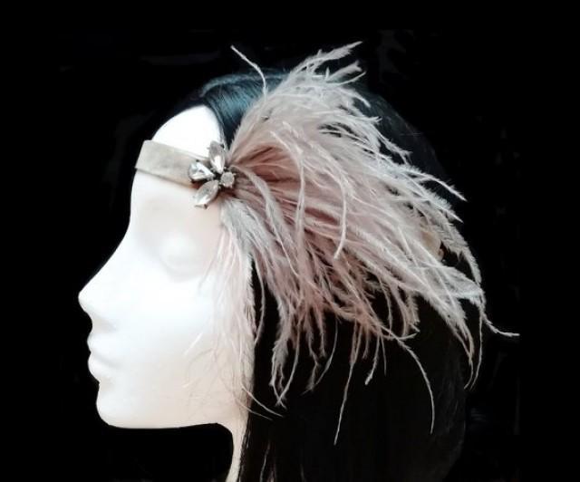 wedding photo - 1920s flapper headpiece. Gatsby wedding.