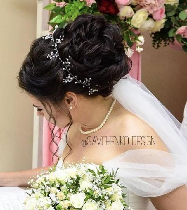 wedding photo - Pearls Bohemian headpiece Bridal Headpiece Prom Bridal Pearl Hair vine