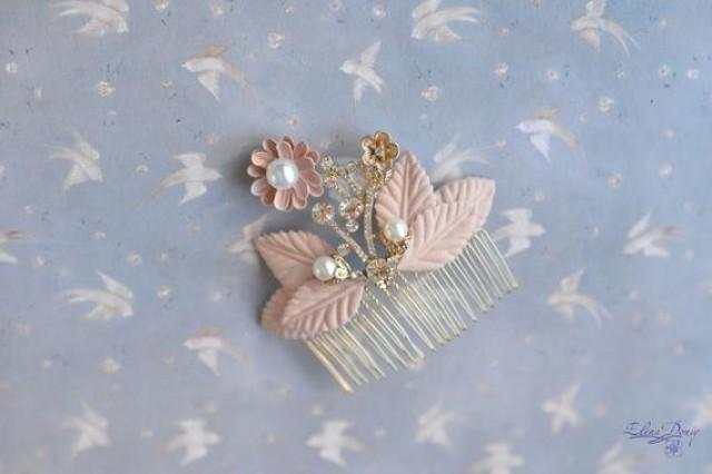 wedding photo - Wedding comb Peach gold hair comb bridal hair back head piece Peach leaves hair comb delicate floral peach jewelry bridal elegant comb