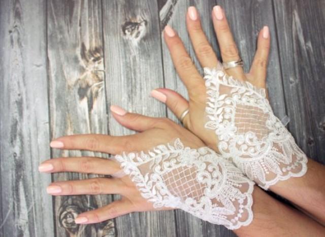 wedding photo - Custom bridal delicate white short wedding gloves, unique fingerloop lace bridal gloves, sophisticated wedding