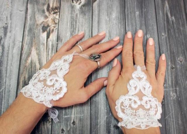wedding photo - White lace bridal short gloves, flower girl gift beaded wedding gloves, fingerless gloves, fairy wedding gloves, bridal cuff