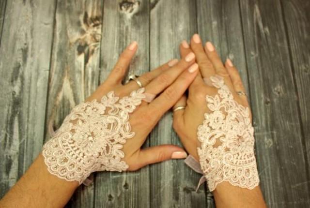 wedding photo - Pink bridal wedding gloves, french lace short bridal gloves, powder pink fingerless gloves, flower girl gift, bridal cuff