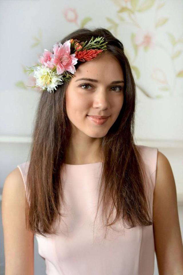 wedding photo - Woodland headband flower head wreath wild flowers crown fern hair Pulsatilla crown spring flowers pink Bridal floral crown Forest wedding