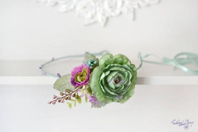 wedding photo - Green mint Wedding headband flower Head wreath purple green crown Boho bridal crown Summer wedding flowers accessories hair Crown mint