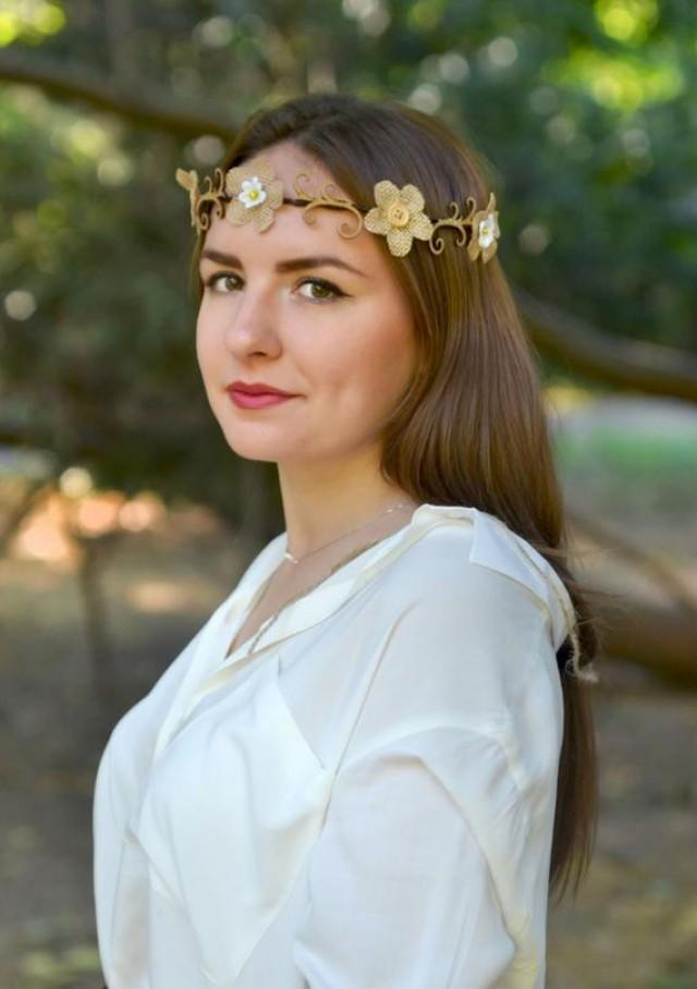 wedding photo - Woodland crown Rustic wedding crown burlap flower wooden halo Rustic bridal hair wreath Brown flower headband Country wedding crown