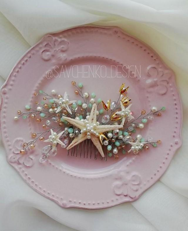 wedding photo - mint and gold beach wedding hair accessories Starfish hair comb Seashell headpiece beach wedding headpiece